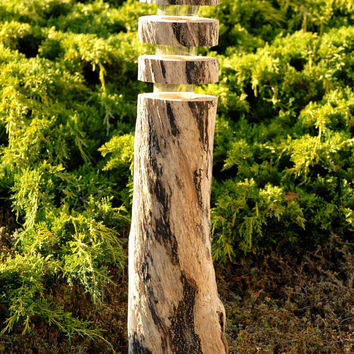 driftwood solar lights SET OF 3. wooden. Artistically crafted into functional outdoor or indoor lighting