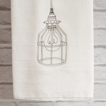 Tea Towel Cotton Kitchen Towel Vintage Industrial Cage Light Flour Sack Towel Tea Towel Home Decor
