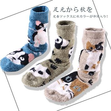 Winter Women Cute Home Floor Socks Japanese Kawaii Warm Thick Panda Cat Bulldog Dog Puppy Jacquard Thermal Long Socks