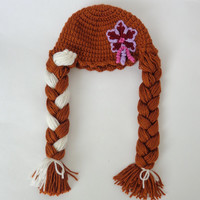 Anna Frozen Crochet Hat  With Flower - Disney Princess Queen Hat Crochet Wig - Choose your color and size
