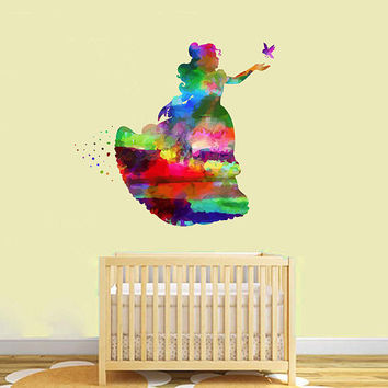 kcik2162 Full Color Wall decal Watercolor Character Disney Belle Beauty and the Beast children's room Sticker Disney