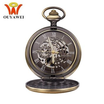 OUYAWEI Brand Vintage Bronze Hollow Steampunk Skeleton Antique Watch Men Women Retro Pendant Pocket Watch Mechanical Chain Fobs