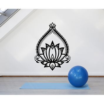 Vinyl Wall Decal Lotus Ornament Flower Nature Yoga Stickers Mural (g562)