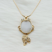 Long gold necklace with a white jade gold fish pendant,Gold plated necklace,Long necklace,Fashion necklace,Prom necklace,Unique necklace,