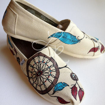 Dream catchers -you chose the colors- hand painted on TOMS shoes-made to order
