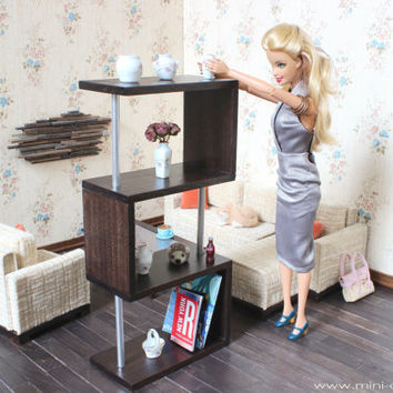 1/6 scale Contemporary Bookcase for dolls (Blythe, Barbie, Bratz, Momoko). Modern style.