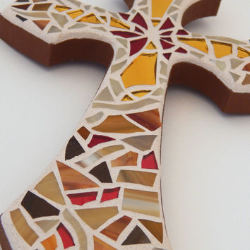 "Mosaic Wall Cross, Rich Shades of Brown + Gold Mirror + Red Mirror, Handmade Stained Glass Mosaic Design, 12"" x 7"""