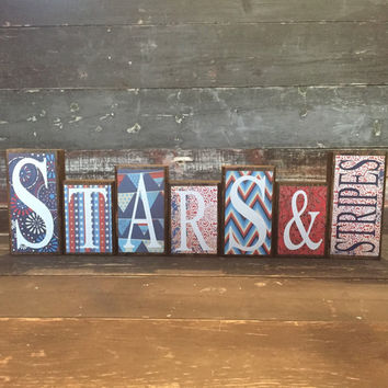 4th of July Theme Home Decor Wood Blocks - Stars & Stripes - {Independence Day, America, July 4th}