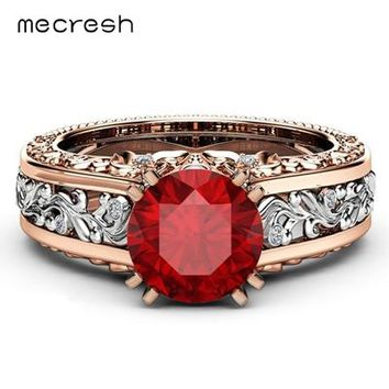 Mecresh Colorful Crystal Women Engagement Rings Wedding Bands Rose Gold Vintage Ethnic Finger Ring Female Fashion Jewelry JZ090