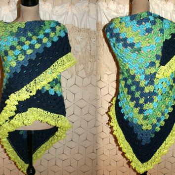 Crochet Shawl Handmade Triangle Shawl Festival Clothing Blue Green Granny Square Hippie Shawl Hippie Clothing Hippie Boho Accessories