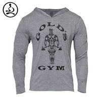 Mens gym clothing Golds Gym Hoodies Bodybuilding Sweatshirt Men Sports Suit Long Sleev