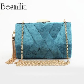 Fashion Design Corduroy Clutch Evening Bag Metal Tassel Women Handbag Chain Shoulder Bag Day Clutch Purse Wedding Pink Party Bag