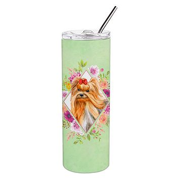 Yorkshire Terrier #2 Green Flowers Double Walled Stainless Steel 20 oz Skinny Tumbler CK4355TBL20