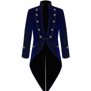 Velvet Bule Swallow Tailed Coat 2Pieces(Jacket+Pant) Formal Party Prom Blazer Latest Coat Pant Custom Made Men Suits Fashion
