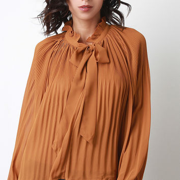 Pleated Self-Tie Neck Blouse