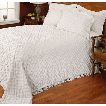 Twin Size 100-Percent Cotton Bedspread with White Diamond Pattern & Fringed Edges