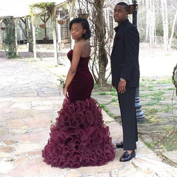 New African Burgundy Mermaid Prom Dress Fast Shipping 2016 Organza Ruffles Long Prom Party Dress For Graduation