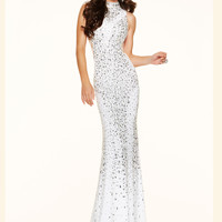 Beaded High Neck Paparazzi Prom Dress 98068