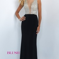 Long Blush Prom Dress with Beaded Illusion Top