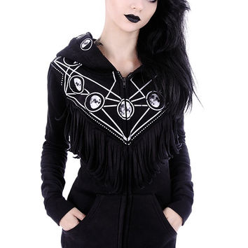 Gothic Girl Coven Gypsy Witch Oversized Hood Moon Phase Gothic Black Hoodie with Fringe
