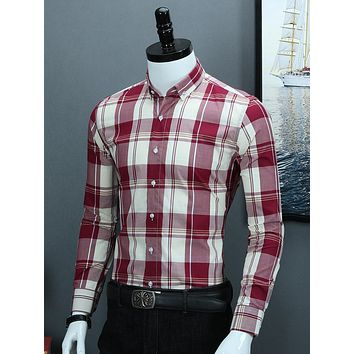 Men's Plaid Checkered Gingham Long Sleeve Dress Shirt Cotton Smart Casual Standard-Fit Rounded Hem Simple Button-collar Shirts