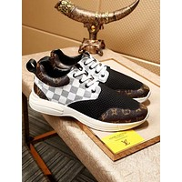 """2018 Hot """"Louis Vuitton"""" LV Popular White Tartan Coffee Print Personality Shoes Sneakers I-OMDP-GD"""