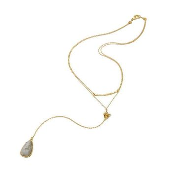 Long Layered Natural Stone Pendant Necklace