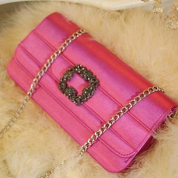High Quality Women Evening Day Clutch Ruched Bags Rhinestones Shoulder Chain Handbag Black/Blue/White/Rose/Red Free Shipping
