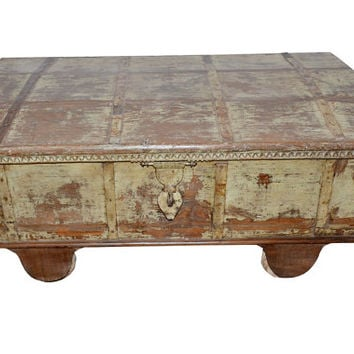 Coffee Table Reclaimed Pitara Trunk Table Salvaged Distressed Antique Indian Wedding Chest Spanish Decor Mediterranean Space