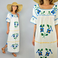 vtg 70s EMBROIDERED FLORAL bohemian mexican hippie gypsy lightweight MAXI dress, extra small-small