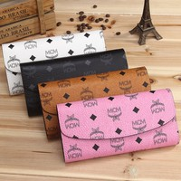 """MCM"" Women Purse Fashion Classic Logo Letter Print Multifunction Long Section Button Three Fold Wallet Handbag"