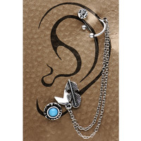 18 Gauge Burnished Silver Wild West Feather Chain Earring Set | Body Candy Body Jewelry