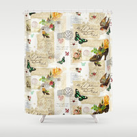 Vintage Victorian Ephemera Collage Shower Curtain by Oh So Girly