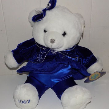 2007 Snowflake Teddy Blue White With Tags