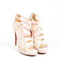 ONETOW Nude Christian Louboutin Patent Leather Strappy  Fernando  Sandals