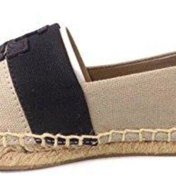 Tory Burch Weston Flat Espadrille Shoes Natural Black 7.5