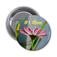 Number 1 Mom Pink Flower Pin