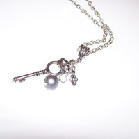 Key Charm Necklace Antiqued Silver Key Charm with Rhinstone and Pearl Charms on 24 Inch Chain
