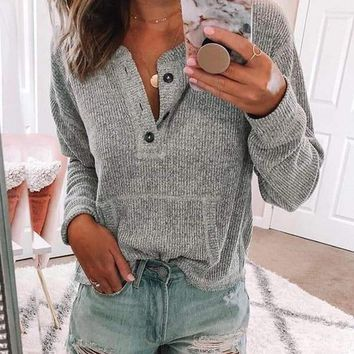 New Grey Buttons Pockets Round Neck Long Sleeve Casual Pullover Sweater
