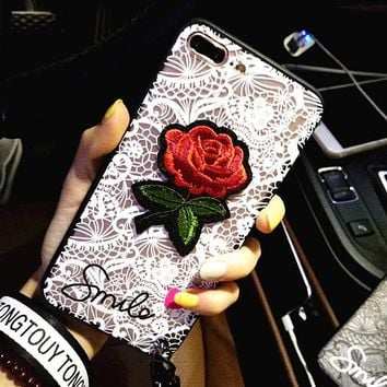 Embroidery Tattoo Rose iphone7 / 8/6 Apple 6/7 / 8plus personality with lanyard phone shell shell female models