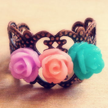 Handmade Pastel Rose Filigree Adjustable Ring