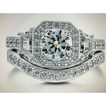 Art Deco 1.5CT Round Cut Russian Lab Diamond Bridal Set Wedding Band Ring