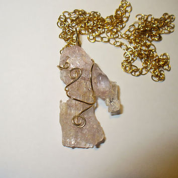 Kunzite Rough Pendant Necklace in Gold Filled Wire Wrap