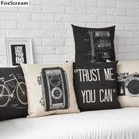 Vintage Camera Decor Nordic Style Cushion Cover