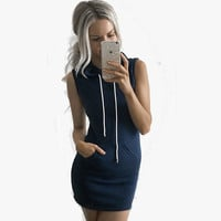 Women Hooded Pocket Dress Bodycon Style Jumper Mini Dress