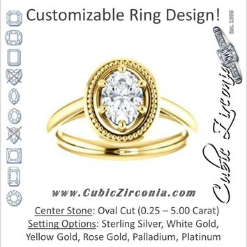 Cubic Zirconia Engagement Ring- The Eve (Customizable Oval Cut Solitaire with Metallic Drops Halo Lookalike)