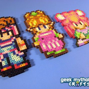 Squaresoft Secret of Mana - Randi, Sprite (Popoie), Purim - Perler Bead Sprite Set of 3 Characters