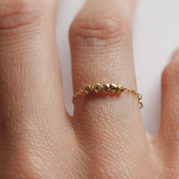 Minimalist Ring, Gold Nuggets Chain Ring in Gold plated