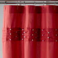 Pintuck Shower Curtain - Coral