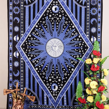 Twin Hippie Celestial Star Tapestry Burning Sun Star Tapestries Sun Moon Wall Hanging Solar Planets Indian Bedsheet ethnic hippie Bedspread